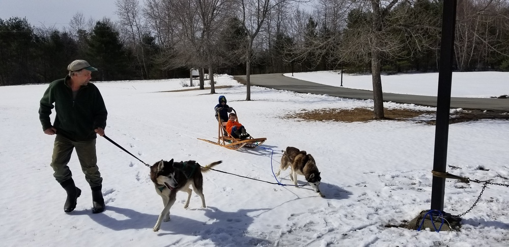 A dog sled team visits the pre-k class!