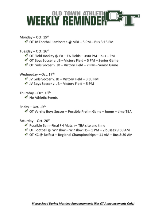 Athletic Events Oct 15