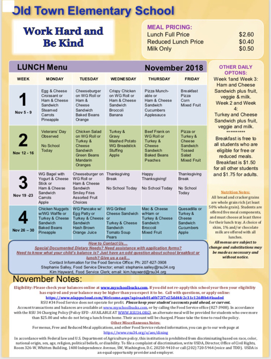 OTES November lunch menu