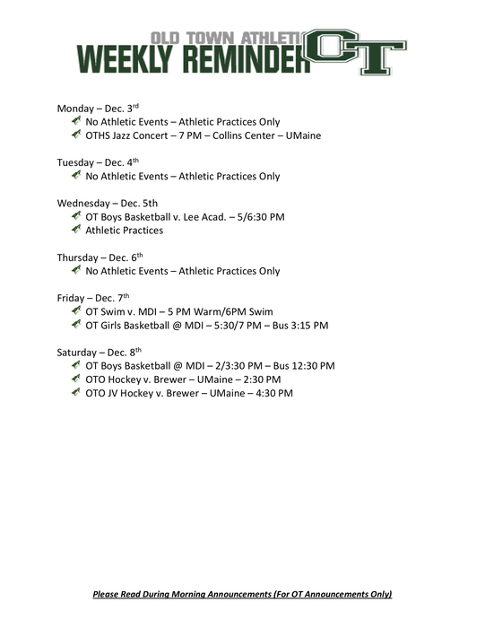 Athletic Events Dec 3rd