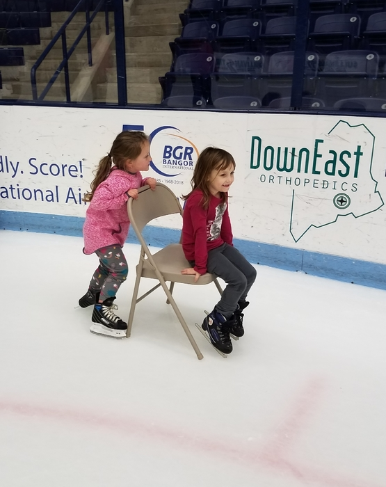 Even little skaters had fun giving friends rides!