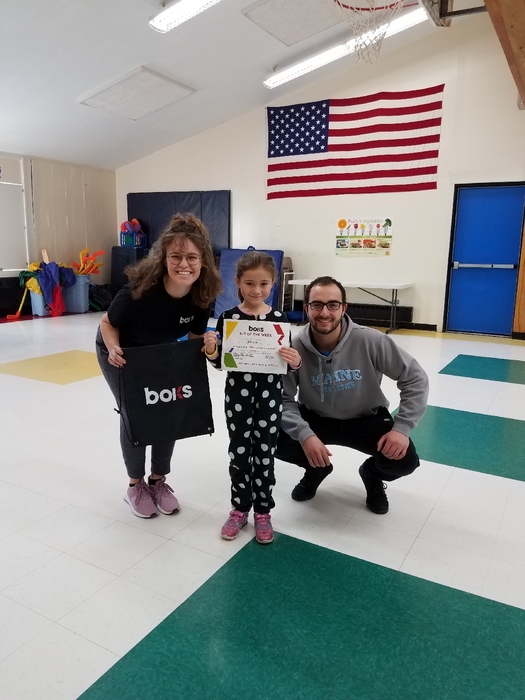 BOKS kid of the week Aliza with Coach Sam and Coach Estella!