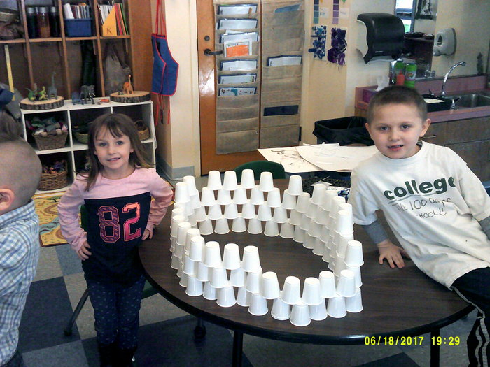 Kaleigh and Max made a tower with 100 cups