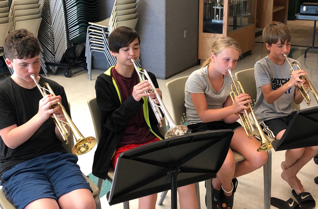 A row of middle school trumpeters.