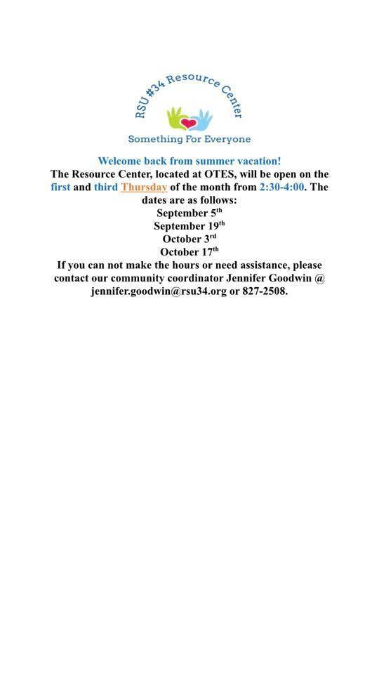 Resource Center dates for September and October