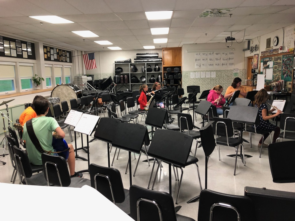 Practicing in the music room