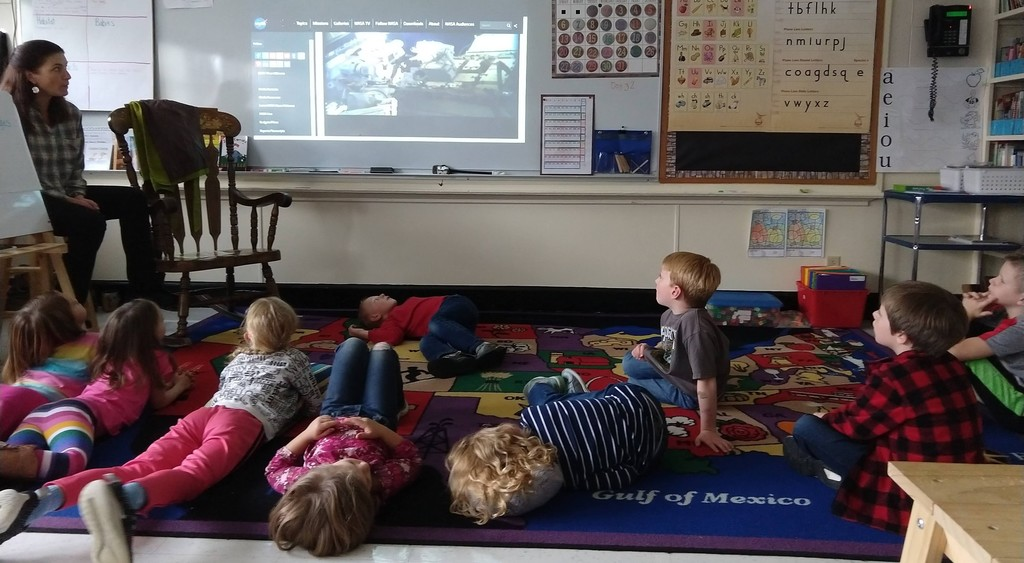First graders watching spacewalk
