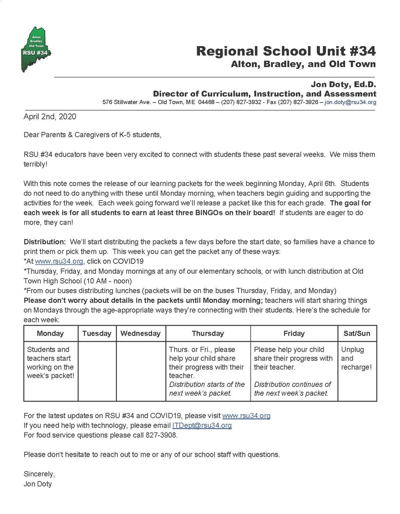 Elementary Packets for Week Beginning April 6th