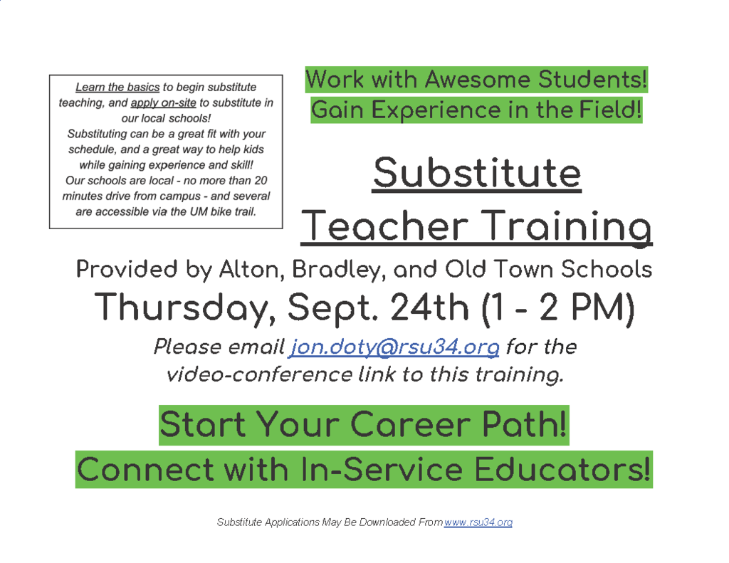 Sept. 24th Substitute Teacher Training